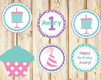 Pink, Purple & Blue Custom made cupcake toppers