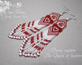 Beaded red white earrings Queen of Hearts Valentine's Day gift original design