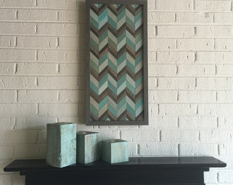 chevron wood wall art - reclaimed wood wall art - chevron pattern wood wall art- wall decor - chevron-wood wall decor