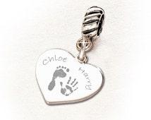 Sterling Silver Fingerprint / Handprint/ Footprint Charm (fits Pandora, Troll, etc.)
