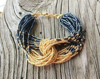 Multi-strand Gold and Blue Bead Bracelet