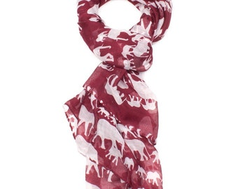 Red Elephant Print Scarf