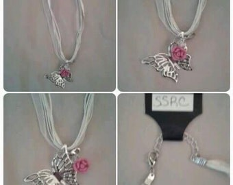 White Ribbon Necklace with Silver Butterfly