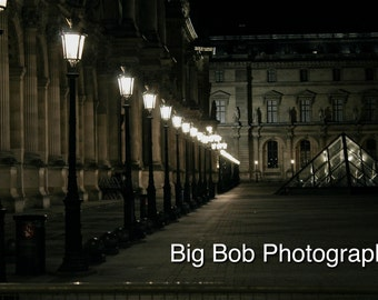 Paris Photography of the Louvre Museum at Night