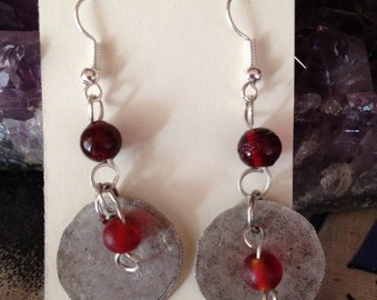 Hammered Silver Coin Earrings