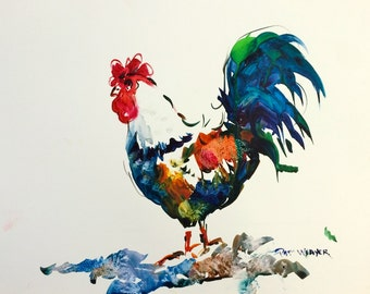 ROOSTER Original Watercolor Painting on Yupo by Pat Weaver