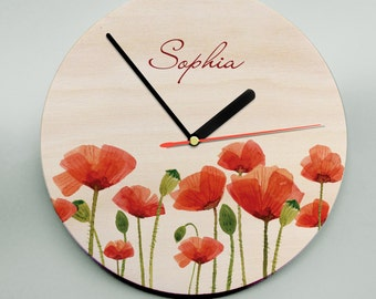 Wall Clock / Unique Wall Clock / Modern Wall Clock / Wooden Wall Clock / Flowers / Poppies