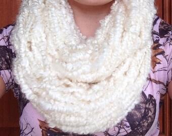 10 stitch ivory handmade infinity scarf