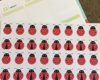 32 ladybug stickers for your life plannner. Removable
