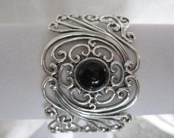 Sterling Silver Black Onyx Filigree Cuff Bracelet