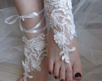 Ivory Lace Sandals / Ivory Barefoot Sandals, Beach Sandals Bridal Anklet, Bangle,  Wedding Sandals , Bridal sandals,