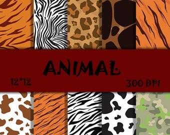 Zoological Scrapbook Paper Animal digital paper Military pattern Animal Scrapbooking Zoological digital paper Instant download nature paper