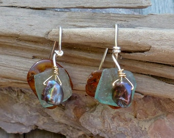 Amber & Roman Glass  Earrings with Pearl Puddles