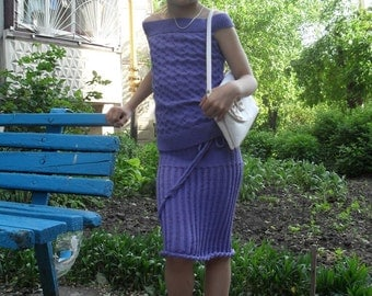 Suit:skirt and t-shirt.Purple.Handmade.Perfect for warm spring and summer.