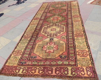 "OLD VINTAGE Turkish Carpet Rug,Caucasian Antique Kazak Mogan Carpet Rug,Rugs,53,9"" X  120,1"""