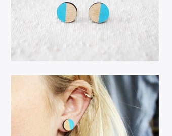 Colorful round wood earrings.