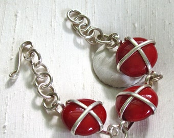 Silver Chain Bracelet with Wire-Wrapped Red Glass Discs - Hook Clasp - 7 1/2 inches