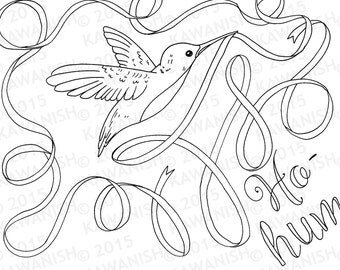 ho hum hummingbird adult coloring page gift wall art