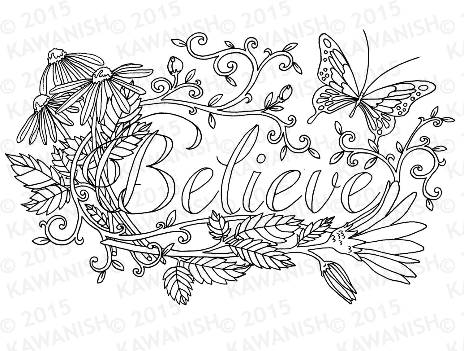 Inspirational Quotes Coloring Pages For Adults : Believe flower inspirational adult coloring page gift wall art