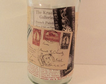 Shabby Altered Bottle, collage, french