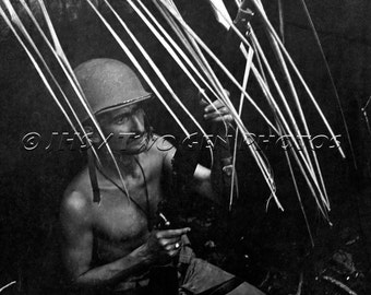 WWII Marine, Guadalcanal Marine, WWII Photo, War Photo, Marine in Battle, History, Vintage, Military, Wall Art, Black and White, War