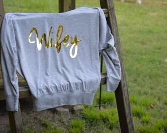 Wifey | grey, long sleeve dolman shirt