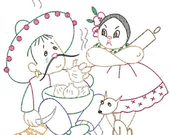 IVLW828 Latin Lovers for Tea Towels Vintage Embroidery Transfer PDF Instant Download!