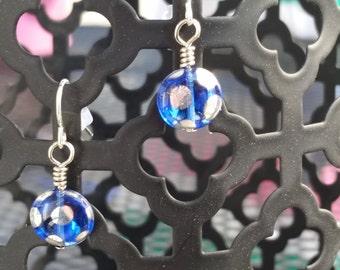Sale! Blue Polka Dot Earrings
