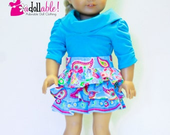 American made Girl Doll Clothes, 18 inch Girl Doll Clothing, Turquoise Skirt, Muse Shirt made to fit like American girl doll clothes