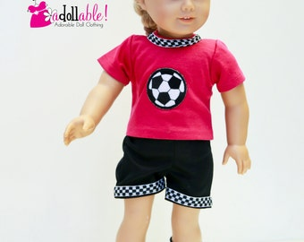 American made Girl Doll Clothes, 18 inch Girl Clothing,  Pink/Black Soccer Outfit made to fit like American girl doll clothes