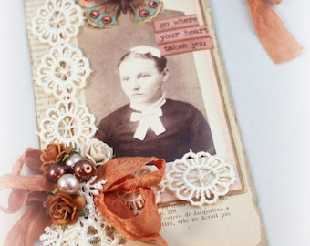 Vintage Style Gift Tag Old Photograph Shabby Vintage Tag, Luggage Tag, Art Tag, Mixed Media Tag, Vintage Style Art Tag, Lady Photo Hang Tag