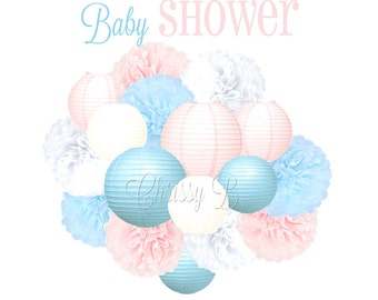 BABY SHOWER Deluxe Party Decorations - Paper Lantern & Tissue Pom Kit - Pink and Blue - Baby Shower