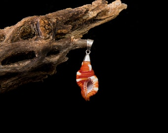 Pendant of snail Orange mounted in silver Taxco