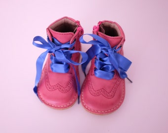 SALE! Pink brogue pattern boots with customised laces for children