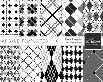 Argyle Paper Templates - Digital Scrapbooking, digital papers, PSD, INSTANT DOWNLOAD, commercial use