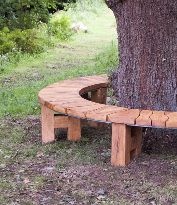 Items Similar To Curved Bench Oak Tree Seat Garden