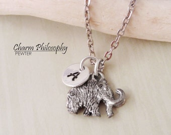 Woolly Mammoth Necklace - 3D Reversible Mammoth Charm - Initial Necklace - Antique Silver Pewter Jewelry