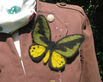Felted butterfly brooch
