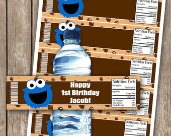 EDITABLE Cookie Monster Birthday Party Water Bottle Wrappers INSTANT DOWNLOAD