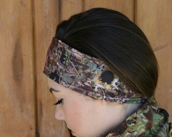 Sunlower Camo Polar Fleece Ear Warmer/ Headband Yellow Accented
