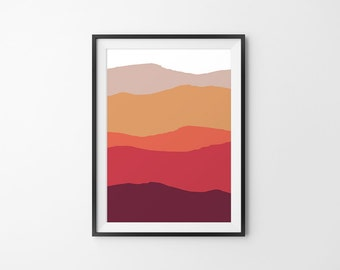 Mountain Decor, Mountain Wall Art, Mountain Art Print, Mountain Landscape, Mountain Minimal Art, Mountain Silhouette - Red, Brown