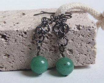 Jade Bead Earrings, Gun Metal Chainmaille hanging from Gun Metal Ear Wires