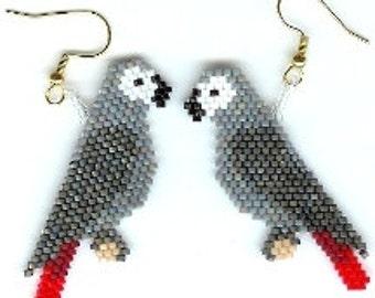 Congo Grey Parrot-Earring Pattern