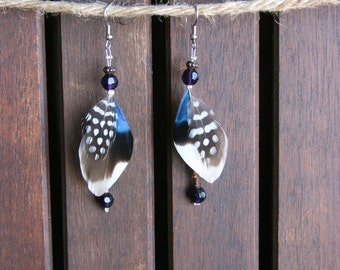 Uniquely Iridescent Duck & Guinea Feather Hanging Earrings
