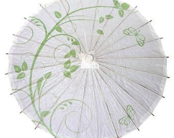 Green Butterfly Paper Parasol