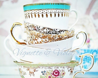 Vintage tea cup stock photo.