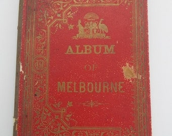 Rare 1870's Melbourne Illustrations, 37 engravings in red & gold album, 10 pages, Australian History