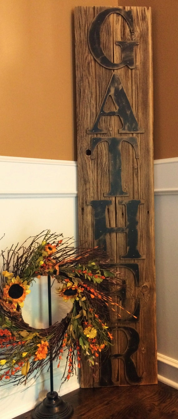 Rustic Gather Sign On Reclaimed Barn Wood By