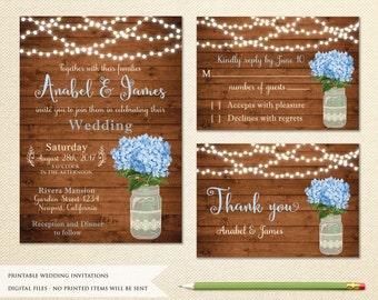 Mason Jar Wedding Invitation. Printable Wedding Invitation. Rustic Wedding Invitation. Hydrangea Wedding Invitation.String Lights Invitation