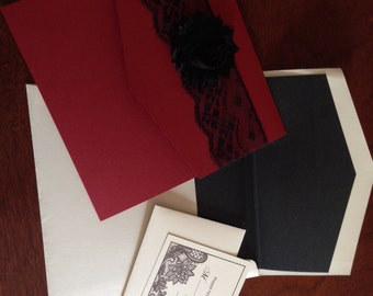 Red and Black Lace Embellished Wedding Invitation